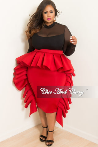 Final Sale Plus Size Skirt Faux Suede with Overlapping V-Split Fringe Bottom in Mocha