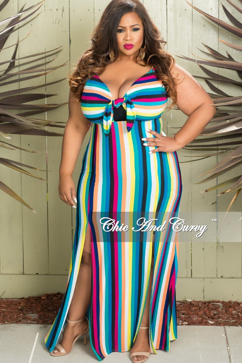 Final Sale Plus Size Bow Front Sleeveless Stripe Dress with Front Slits in Multi Color Print