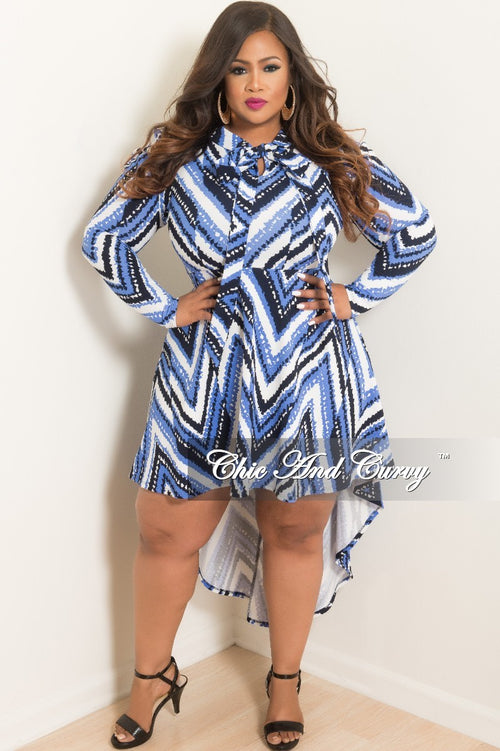 New Plus Size Long Sleeve High-Low Dress with Neck Tie in Light Blue Black and Off White Print