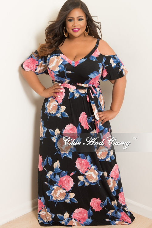 87422f9412eb Final Sale Plus Size Cold Shoulder Dress in Black Pink Navy and Tan Floral  Print