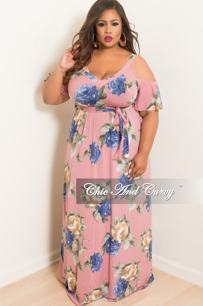 Final Sale Plus Size Cold Shoulder Dress in Mauve Green Blue and Tan Floral  Print