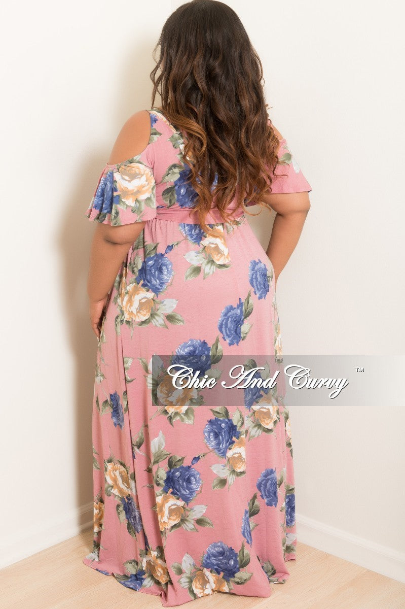 New Plus Size Cold Shoulder Dress in Mauve Green Blue and Tan Floral Print