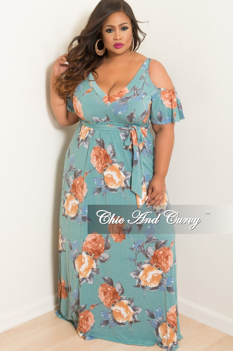 Final Sale Plus Size Cold Shoulder Dress in Teal and Tan Floral Print
