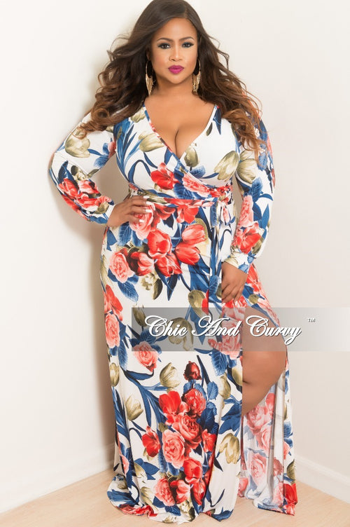Final Sale Plus Size Long Sleeve Faux Wrap Dress with Attached and Front Slit in White Navy Red and Green Floral Print