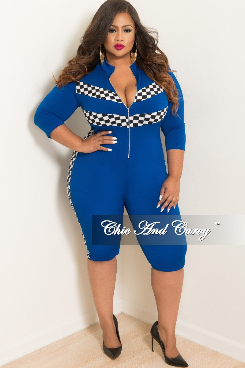 60191a216d2 New Plus Size Sporty Zip-Up Knee-Length Jumpsuit in Royal Blue with Ch –  Chic And Curvy