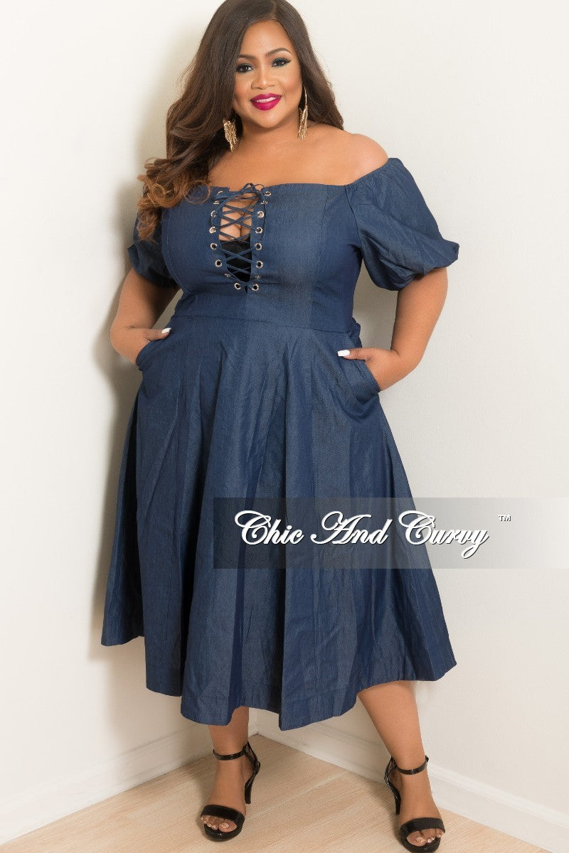 3d44543deff9 New Plus Size Lace Up off the Shoulder Flare Dress with Back Silver Zi –  Chic And Curvy
