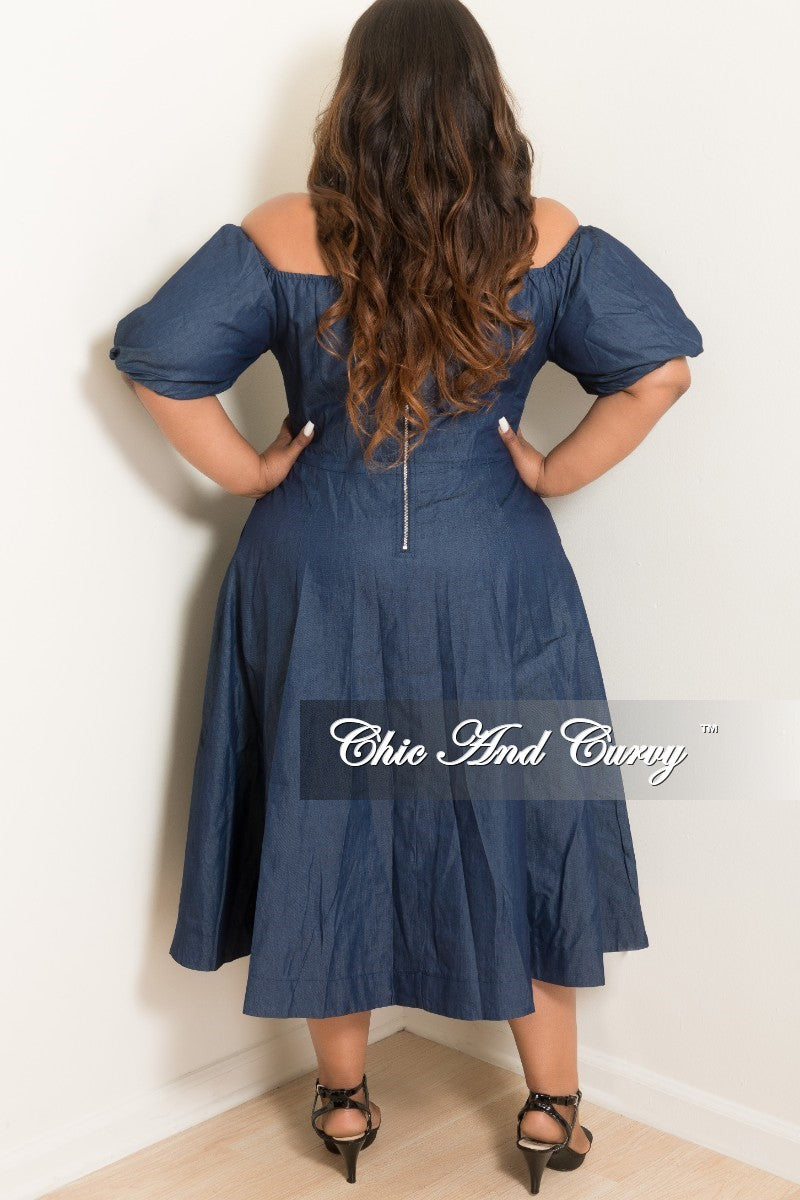 New Plus Size Lace Up off the Shoulder Flare Dress with Back Silver Zipper in Dark Denim