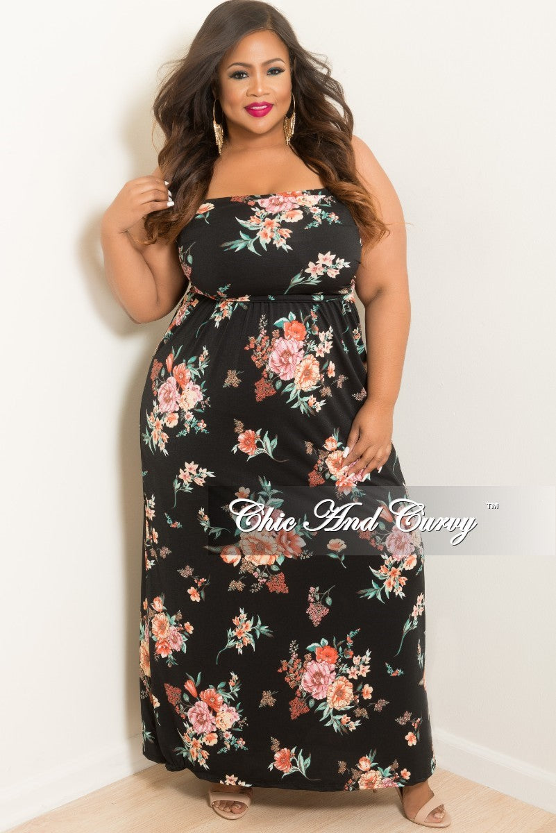 New Plus Size Long Tube Dress in Black Floral Print