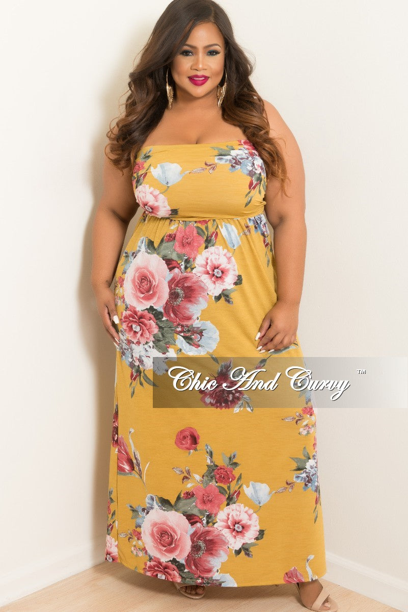 New Plus Size Long Tube Dress in Mustard and Rose Floral Print