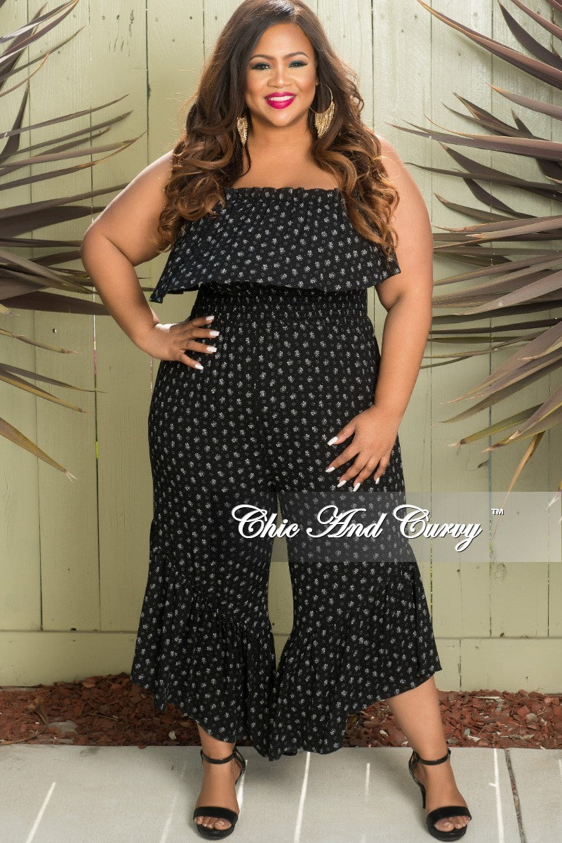 New Plus Size Strapless Jumpsuit with Ruffle Wide Legs in Black and White Design Print