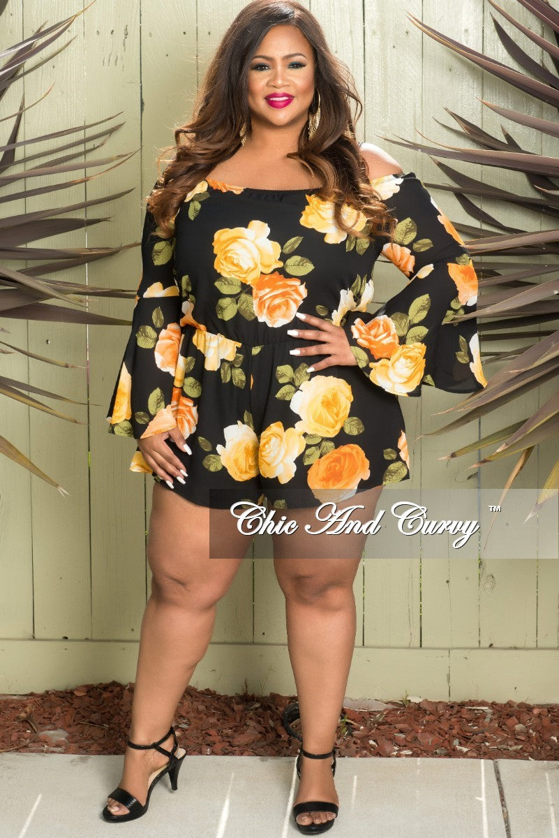 ce6836f7d35dc Final Sale Plus Size Off the Shoulder Bell Sleeve Romper in Black Flor –  Chic And Curvy