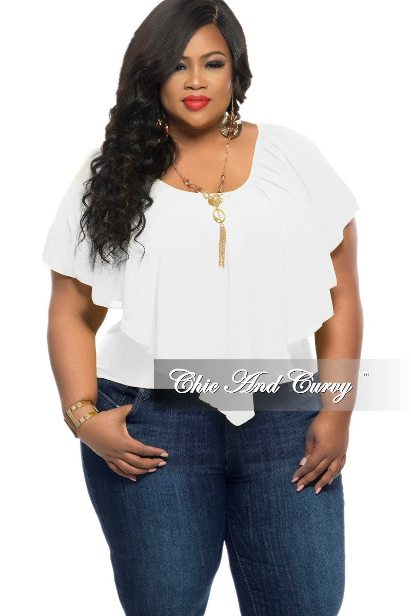 cfded4255e2 Final Sale Plus Size Off the Shoulder Top in White – Chic And Curvy