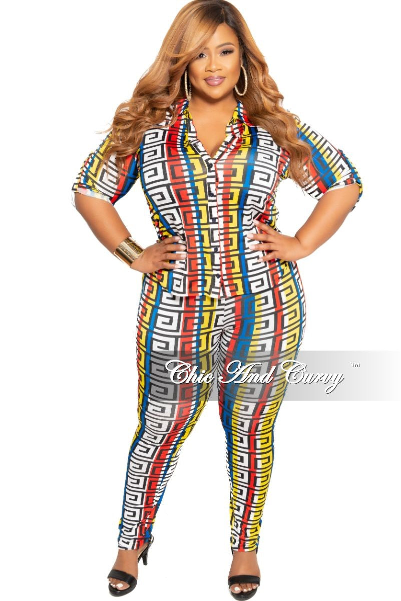 Final Sale Plus Size 2-Piece Collared Button Top and Pants Set in Royal Blue Black Yellow White and Red Maze Print