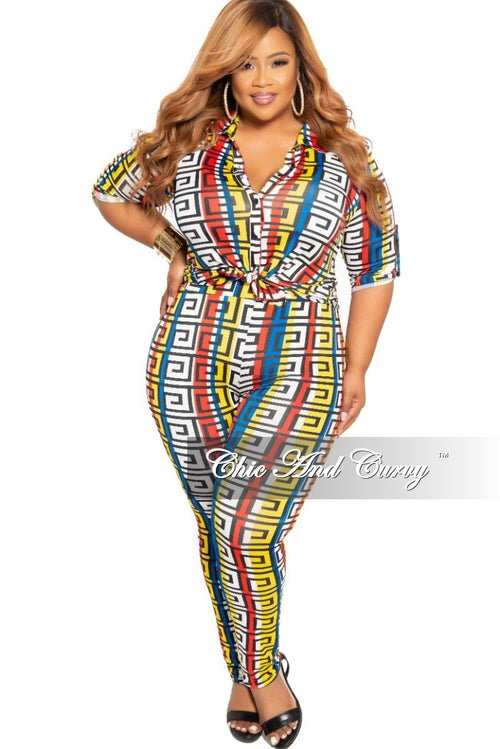 New Plus Size 2-Piece Collared Button Top and Pants Set in Royal Blue Black Yellow White and Red Maze Print