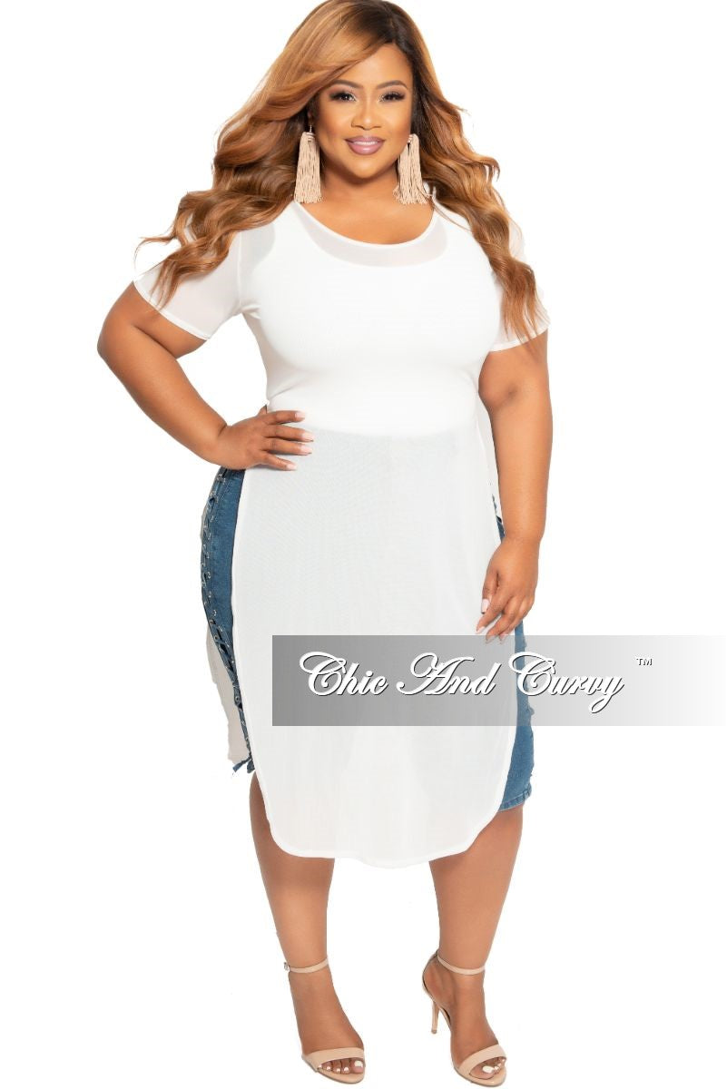 80530f5d53 Final Sale Plus Size Short Sleeve Sheer Cover Up/Top in White – Chic And  Curvy