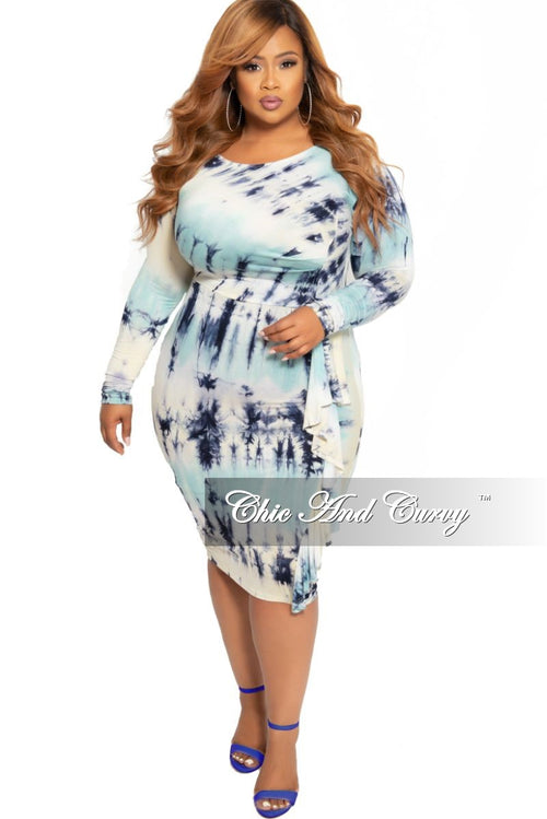 Final Sale Plus Size BodyCon Dress with Side Ruffle in Aqua Blue Tie Dye