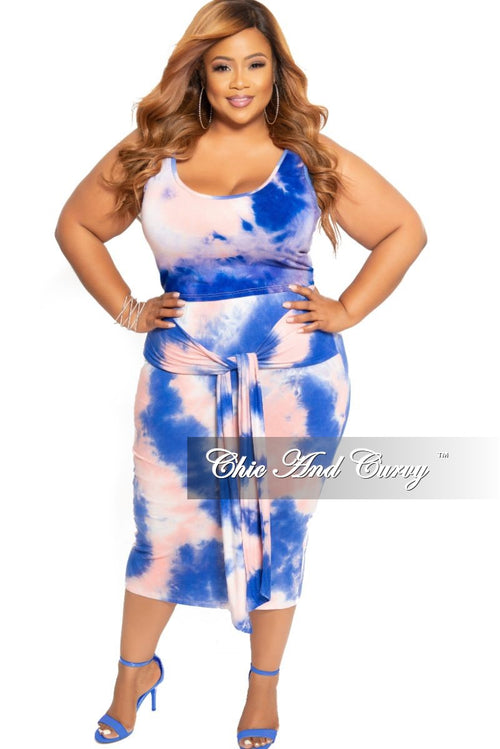 New Plus Size 2-Piece Sleeveless Crop Top and Pencil Skirt Set with Attached Tie in Royal Blue and Pink Tie Dye Print