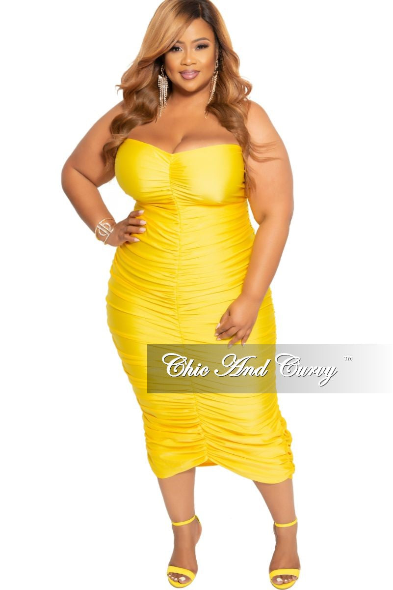Final Sale Plus Size Strapless Ruched BodyCon Dress in Yellow