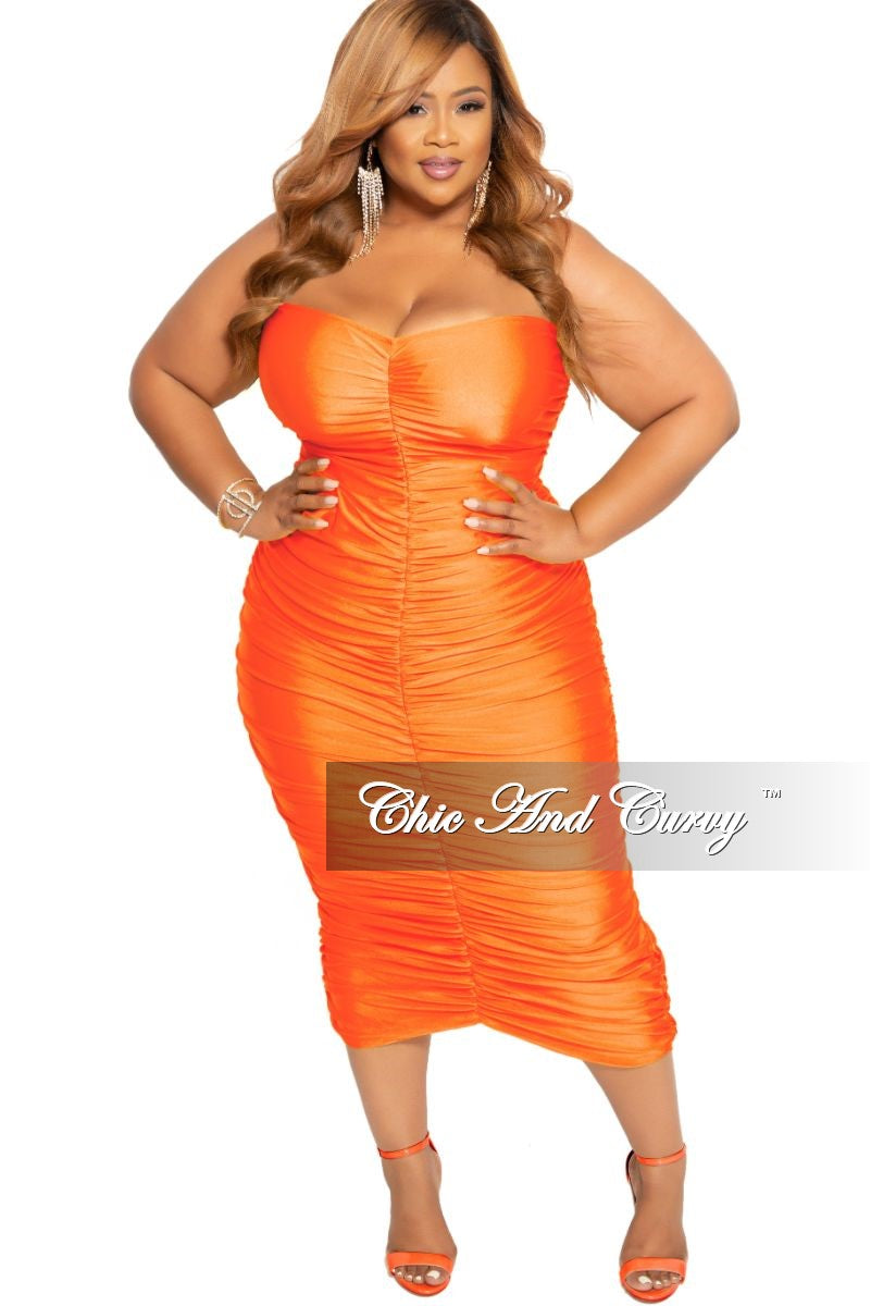 Final Sale Plus Size Strapless Ruched BodyCon Dress in Orange