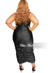 Final Sale Plus Size Strapless Ruched BodyCon Dress in Black