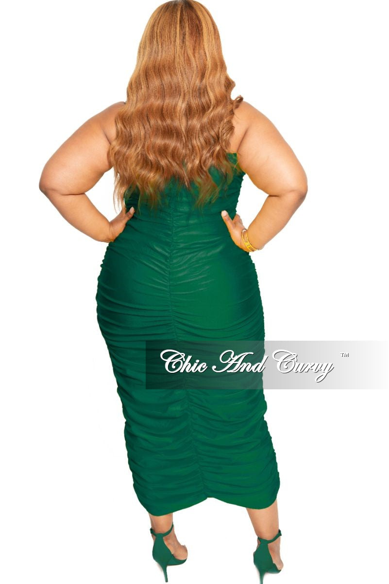 Final Sale Plus Size Strapless Ruched BodyCon Dress in Green