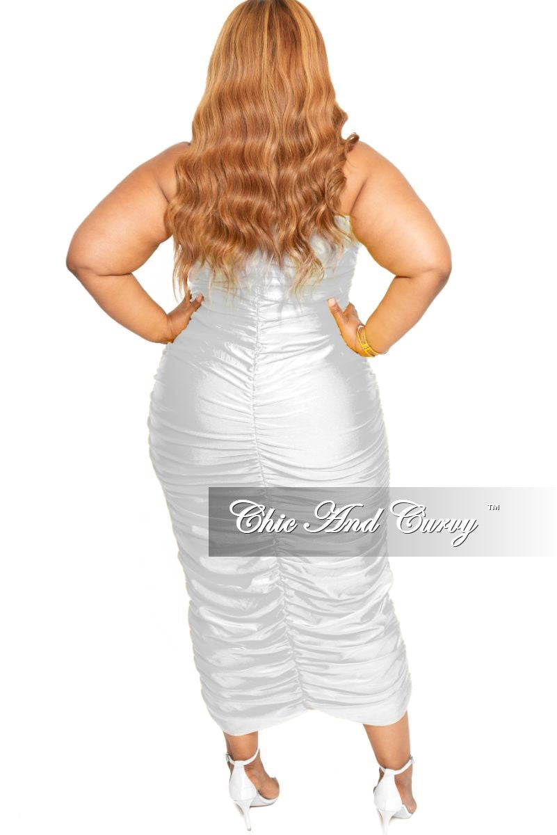 0b2086f0194 Final Sale Plus Size Strapless Ruched BodyCon Dress in White – Chic ...
