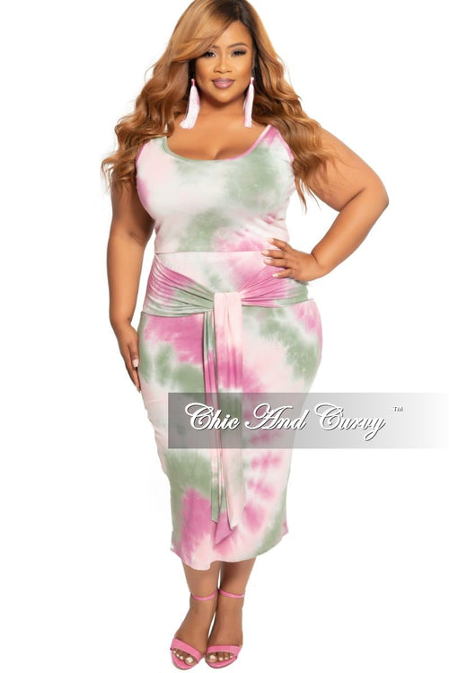 New Plus Size 2-Piece Sleeveless Crop Top and Pencil Skirt with Attached Tie Set in Lavender Olive and Pink Tie Dye Print