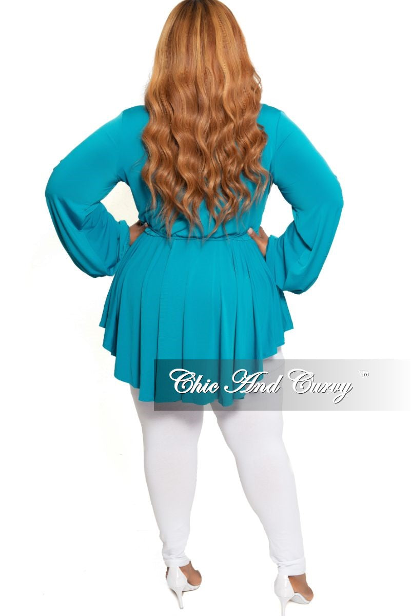 New Plus Size Collar Faux Wrap Romper Dress with Attached Tie in Teal