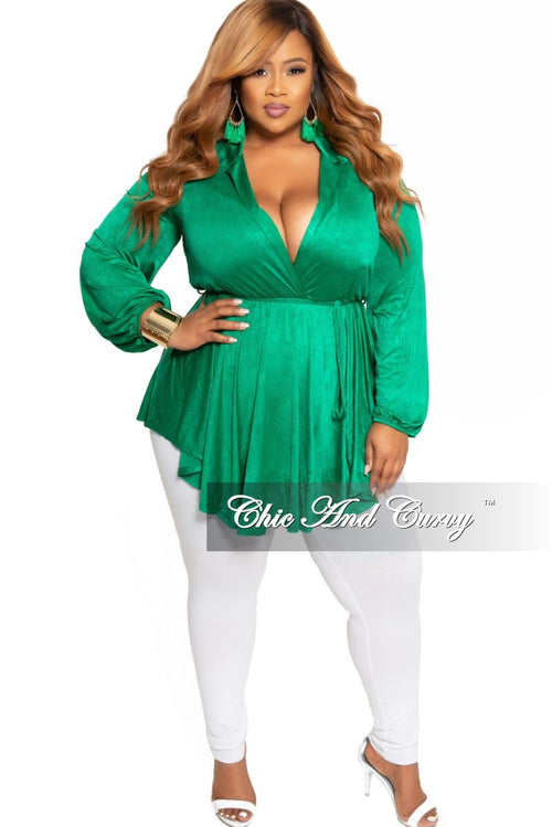 New Plus Size Collar Faux Wrap Romper Dress with Attached Tie in Green
