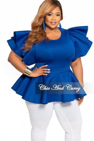 New Plus Size Short Sleeve Top in Blue