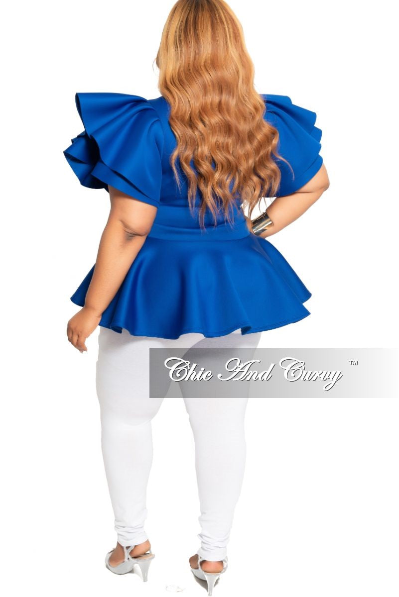 New Plus Size Peplum Top with Ruffle Sleeves in Royal Blue