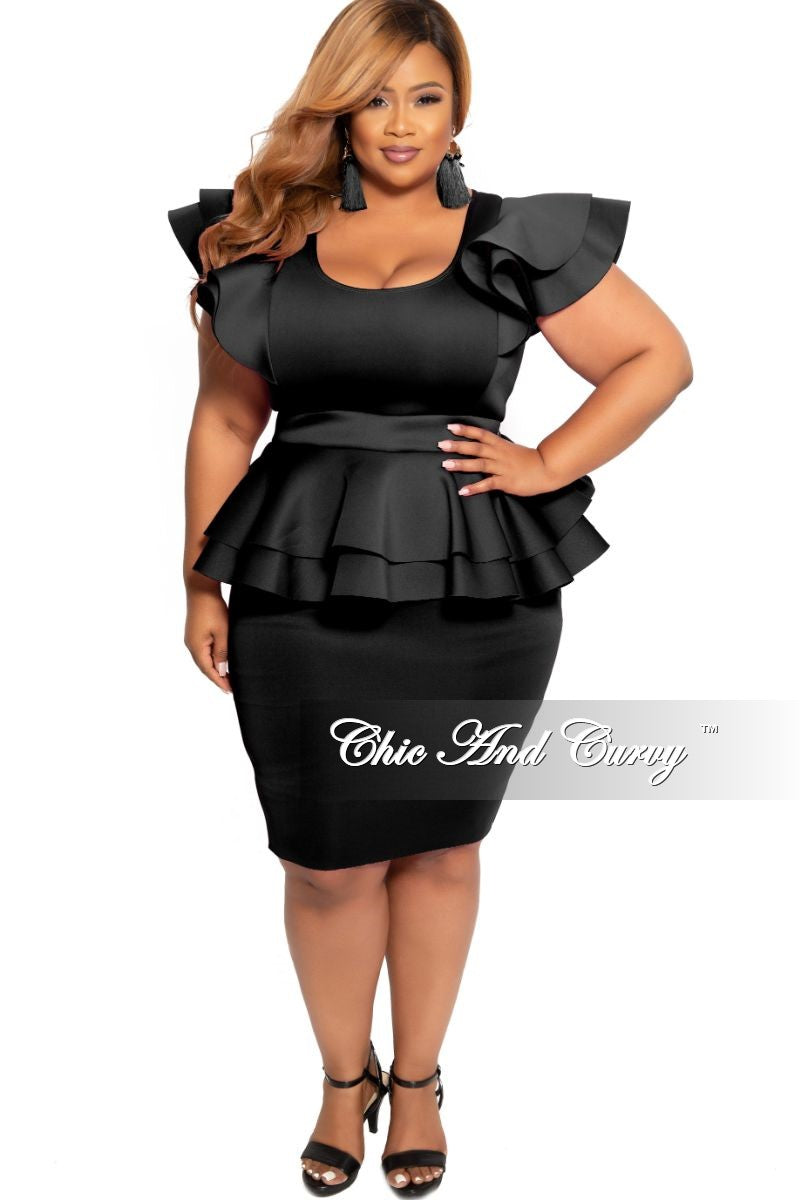 New Plus Size Peplum BodyCon Dress with Layered Sleeves in Black