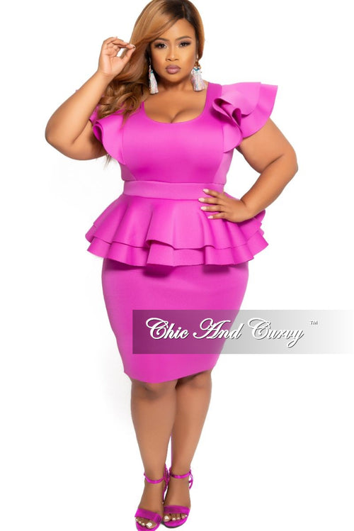 New Plus Size Peplum BodyCon Dress with Layered Sleeves in Purple
