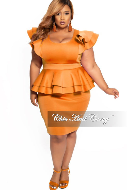 New Plus Size Peplum BodyCon Dress with Layered Sleeves in Orange