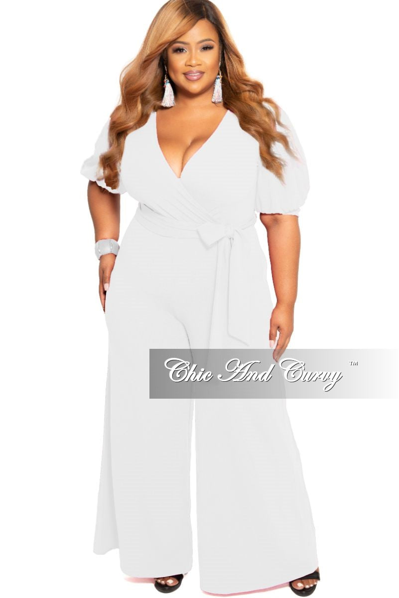 Final Sale Plus Size Faux Wrap Jumpsuit with Attached Tie in White
