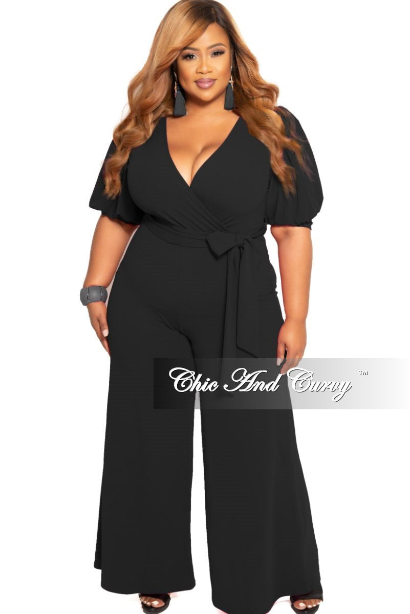 New Plus Size Faux Wrap Jumpsuit with Attached Tie in Black