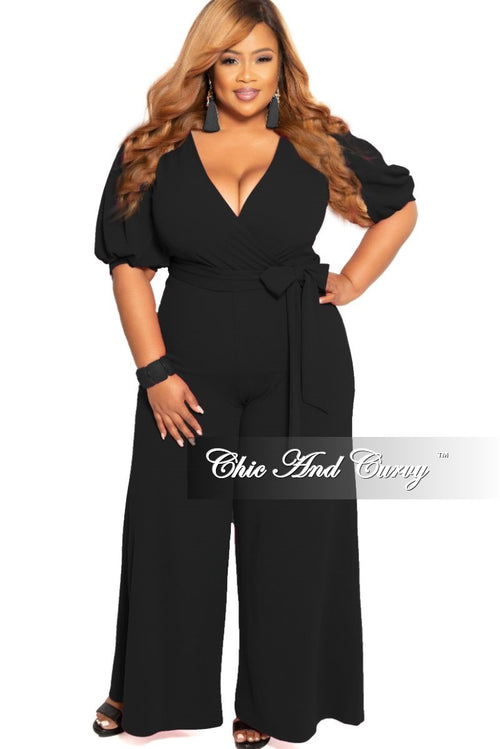 9e586caa2a9 New Plus Size Faux Wrap Jumpsuit with Attached Tie in Black