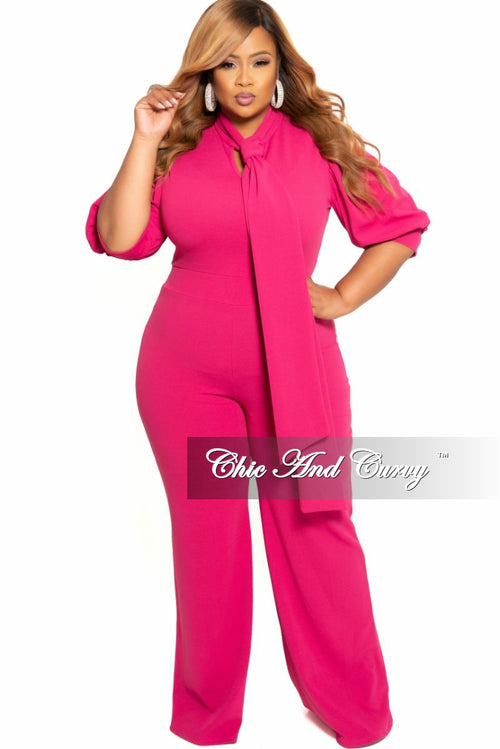 2ee2c566a2 New Plus Size Jumpsuit with Neck Tie and 3/4 Sleeves in Fuchsia