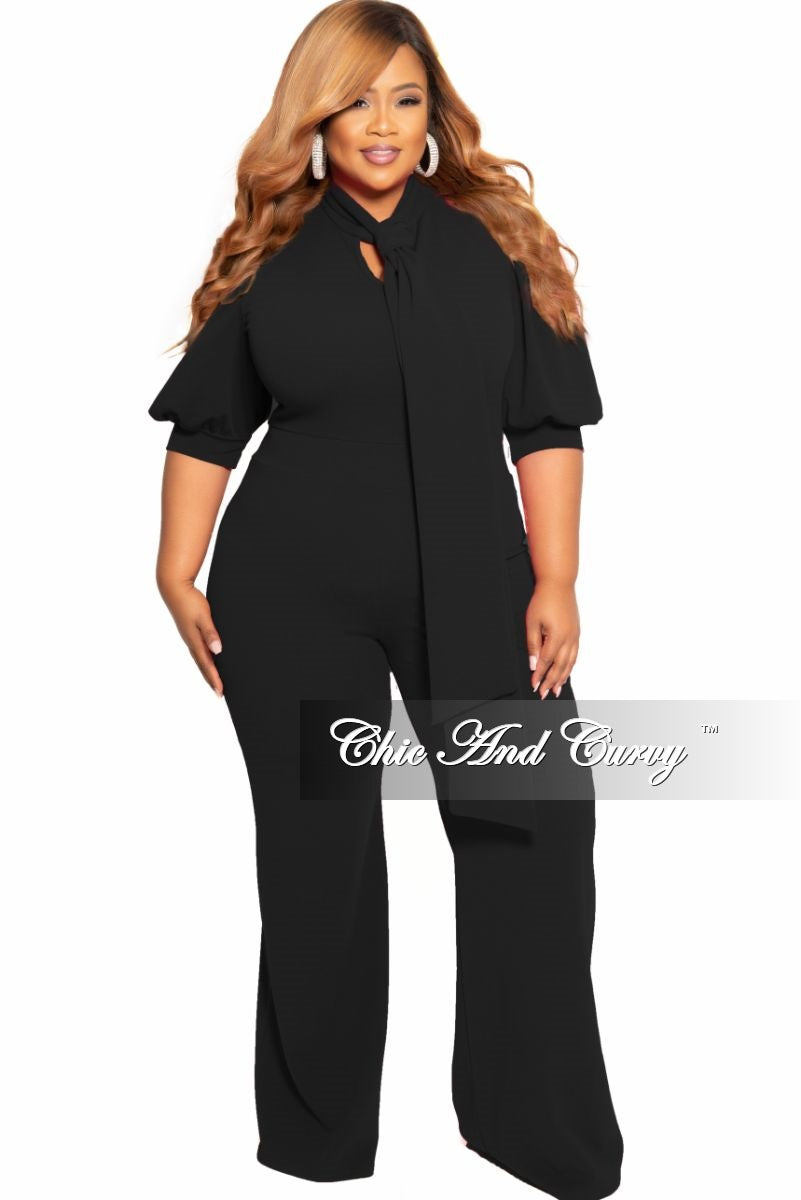 New Plus Size Jumpsuit with Neck Tie and 3/4 Sleeves in Black