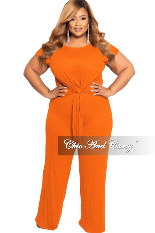 New Plus Size 2-Piece Ribbed Tie Top and Pants Set in Orange