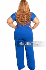 New Plus Size 2-Piece Ribbed Tie Top and Pants Set in Royal Blue