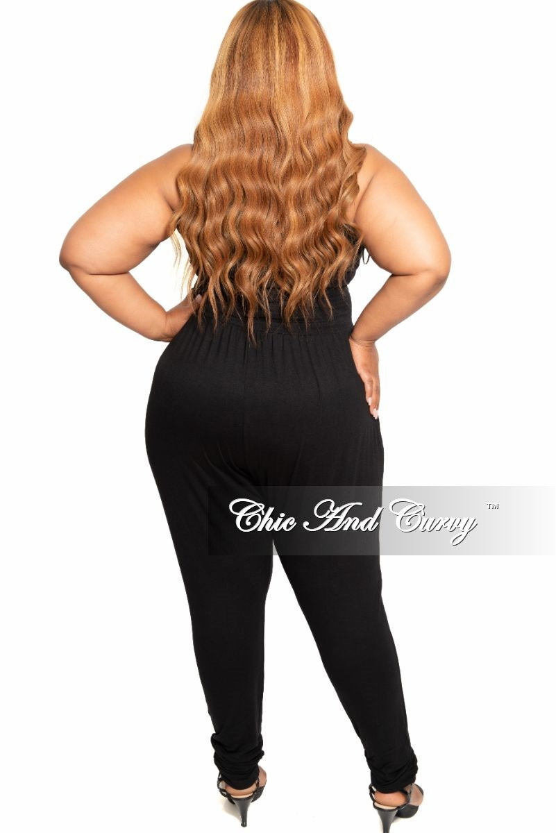 New Plus Size Strapless Lace Up Jumpsuit in Black