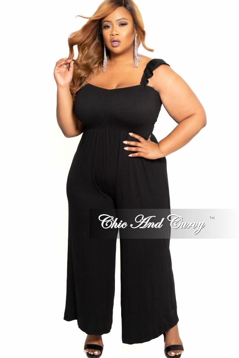 New Plus Size Palazzo Jumpsuit with Ruffle Straps in Black