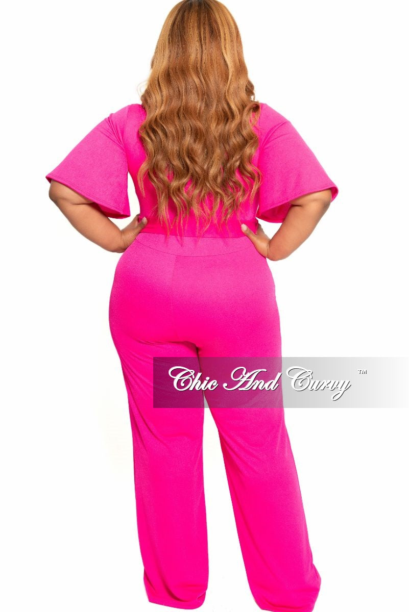 New Plus Size Faux Wrap Flutter Sleeve Jumpsuit with Attached Tie in Hot Pink