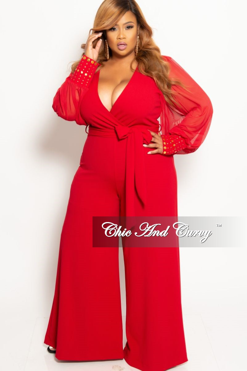 Final Sale Plus Size Chiffon Peasant Sleeve Faux Wrap Tie Jumpsuit in Red