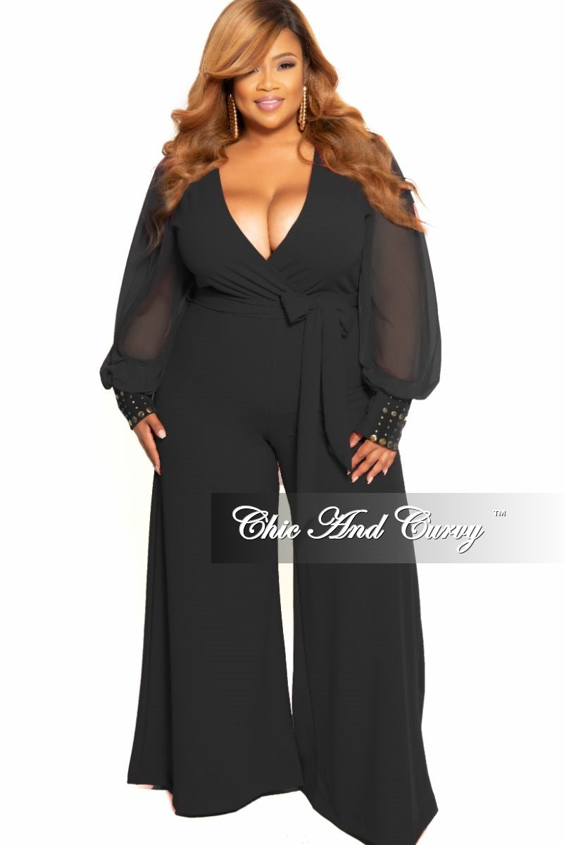 Final Sale Plus Size Chiffon Peasant Sleeve Faux Wrap Tie Jumpsuit Black