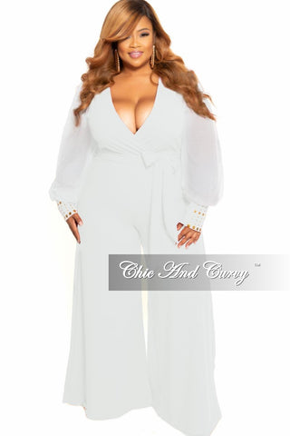 Final Sale Plus Size Collared Faux Wrap Glitter Jumpsuit in Black and White Design Print
