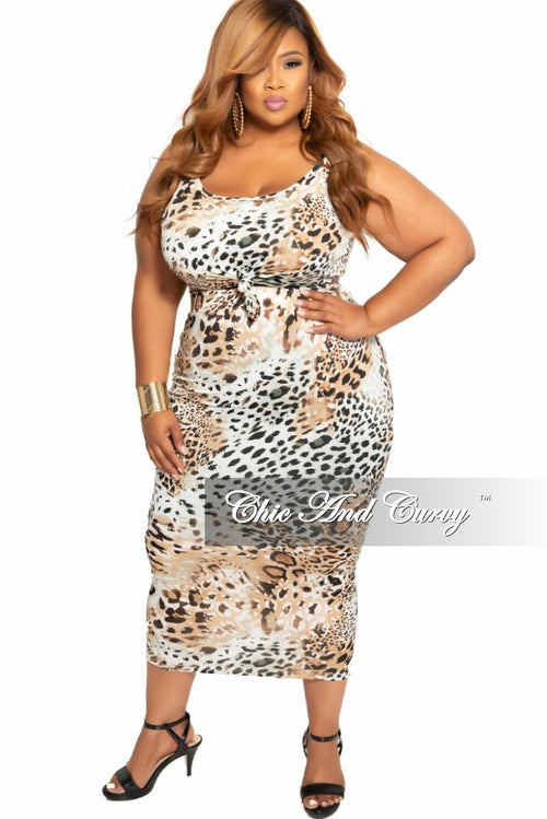 New Plus Size 2-Piece Sleeveless Crop Tie Top and High Waist Skirt with Attached Tie Set in Animal Print