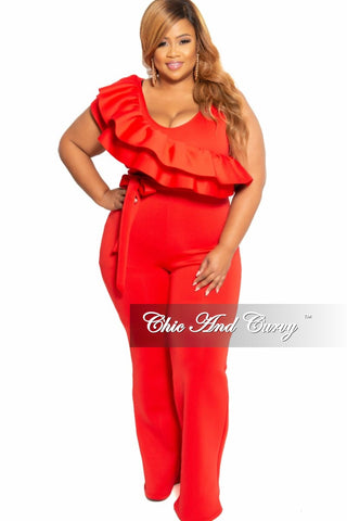 New Plus Size Strapless Jumpsuit with Attached Tie in Mustard and Navy Maze Print