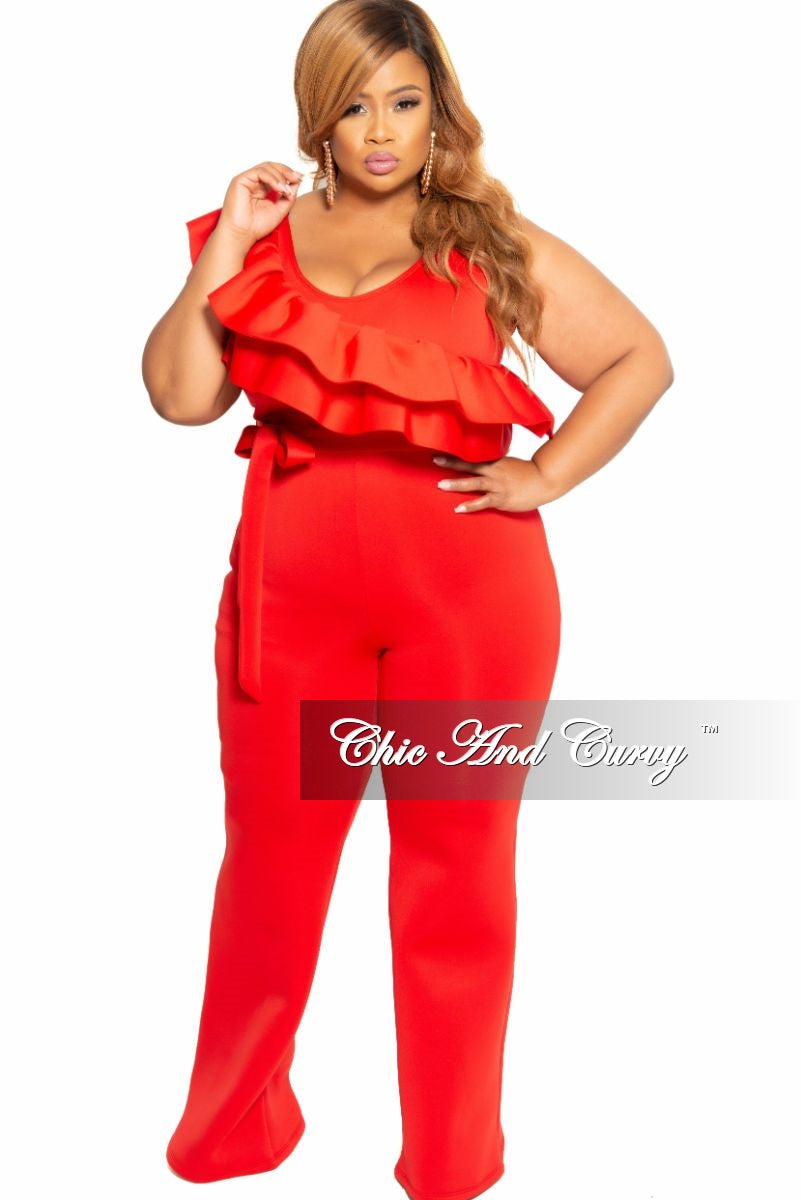 New Plus Size Sleeveless Jumpsuit with Attached Tie and Ruffle Trim in Red Scuba